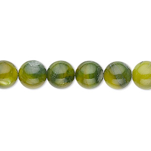 bead, mother-of-pearl shell (dyed), moss green, 8mm round. sold per 16-inch strand.