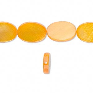 bead, mother-of-pearl shell (dyed), orange, 14x10mm flat oval. sold per 16-inch strand.