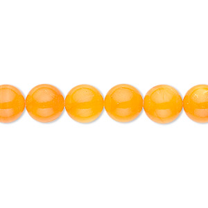 bead, mother-of-pearl shell (dyed), orange, 8mm round. sold per 16-inch strand.