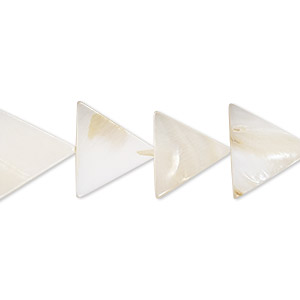 bead, mother-of-pearl shell (natural / bleached), white, 14-15mm flat triangle, mohs hardness 3-1/2. sold per 15-inch strand.