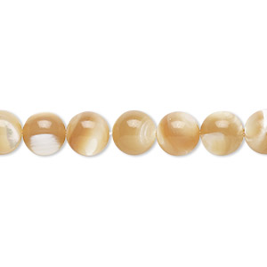 bead, mother-of-pearl shell (natural), 7-7.5mm round with 0.8mm hole, mohs hardness 3-1/2. sold per 16-inch strand.