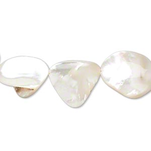 bead, mother-of-pearl shell (natural), medium nugget, mohs hardness 3-1/2. sold per 16-inch strand.