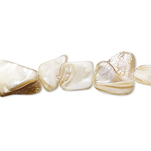 bead, mother-of-pearl shell (natural), mini to medium nugget, mohs hardness 3-1/2. sold per 15-inch strand.