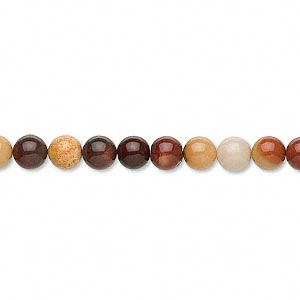 bead, moukaite jasper (natural), 6mm round, b grade, mohs hardness 6-1/2 to 7. sold per 16-inch strand.