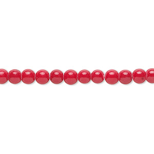 bead, mountain jade (dyed), coral red, 4mm round, b grade, mohs hardness 3. sold per 16-inch strand.