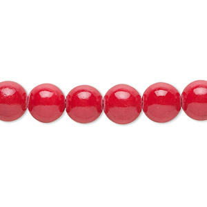 bead, mountain jade (dyed), coral red, 8mm round, b grade, mohs hardness 3. sold per 16-inch strand.