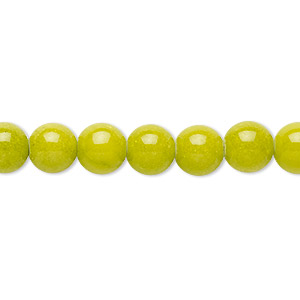 bead, mountain jade (dyed), opaque light green, 8mm round, b grade, mohs hardness 3. sold per 16-inch strand.