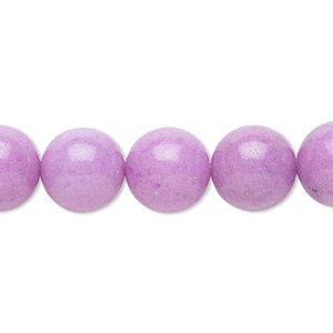 bead, mountain jade (dyed), opaque light purple, 12mm round, b grade, mohs hardness 3. sold per 16-inch strand.