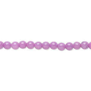 bead, mountain jade (dyed), opaque light purple, 4mm round, b grade, mohs hardness 3. sold per 16-inch strand.