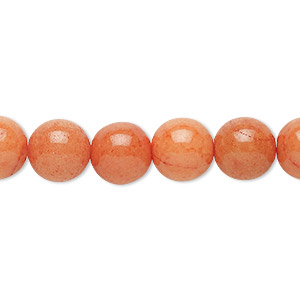 bead, mountain jade (dyed), opaque peach, 10mm round, b grade, mohs hardness 3. sold per 16-inch strand.