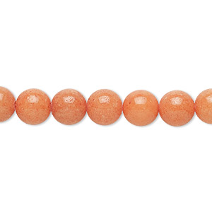 bead, mountain jade (dyed), opaque peach, 8mm round, b grade, mohs hardness 3. sold per 16-inch strand.