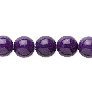 bead, mountain jade (dyed), purple, 10mm round, b grade, mohs hardness 3. sold per 16-inch strand.