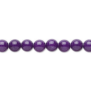 bead, mountain jade (dyed), purple, 6mm round, b grade, mohs hardness 3. sold per 16-inch strand.