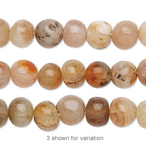 bead, multi-agate (natural / dyed / heated), medium to large hand-cut pebble, mohs hardness 6-1/2 to 7. sold per 13-inch strand.