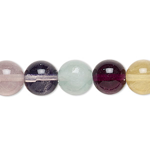 bead, multi-fluorite (natural), 10mm round, b grade, mohs hardness 4. sold per 16-inch strand.
