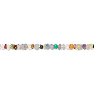bead, multi-gemstone (natural / dyed / coated / heated / irradiated), multicolored, 2x1mm-3x2mm hand-cut faceted rondelle, c grade, mohs hardness 3 to 7. sold per 13-inch strand.