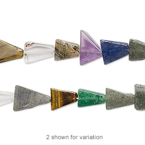 bead, multi-gemstone (natural / dyed / heated / irradiated / manmade), multicolored, 6x6x6mm-16x16x11mm hand-cut flat triangle, mohs hardness 3 to 7. sold per 13-inch strand.