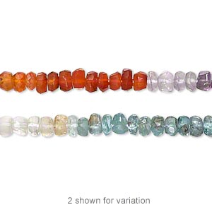 bead, multi-gemstone (natural / dyed / heated / irradiated), multicolored, 3x2mm-5x3mm hand-cut faceted rondelle, c grade, mohs hardness 3 to 7. sold per 13-inch strand.