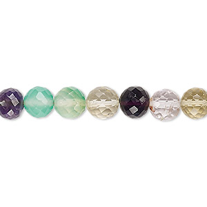 bead, multi-gemstone (natural / dyed / heated / irradiated), multicolored, 6-7mm hand-cut faceted round, b grade, mohs hardness 3 to 7. sold per 7-inch strand.