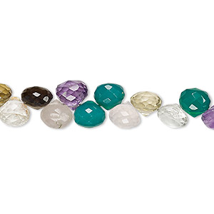bead, multi-gemstone (natural / dyed / heated / irradiated), multicolored, 6x5mm-8x7mm hand-cut top-drilled faceted teardrop, b grade, mohs hardness 3 to 7. sold per 4-inch strand.