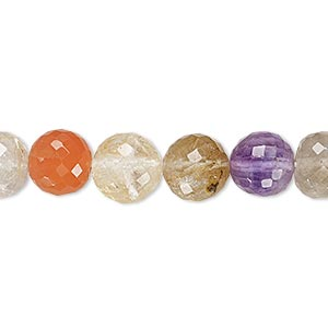 bead, multi-gemstone (natural / dyed / heated / irradiated), multicolored, 9-11mm hand-cut faceted round, b- grade, mohs hardness 3 to 7. sold per 8-inch strand.