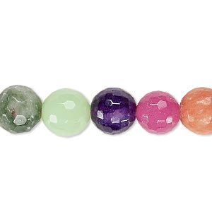 bead, multi-gemstone (natural / dyed / heated / manmade / imitation), multicolored, 9-10mm faceted round, c grade, mohs hardness 3 to 7. sold per 15-inch strand.