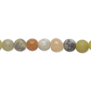 bead, multi-gemstone (natural / dyed / manmade / imitation) and brown goldstone, 6-7mm round, d grade. sold per 15-inch strand.