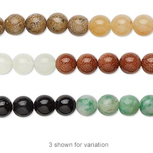 bead, multi-gemstone (natural / dyed / manmade), multicolored, 6mm round, b grade. sold per 16-inch strand.