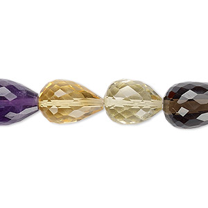 bead, multi-gemstone (natural / heated / irradiated), 12x9mm-16x10mm hand-cut faceted teardrop, b+ grade, mohs hardness 3 to 7. sold per 7-inch strand.