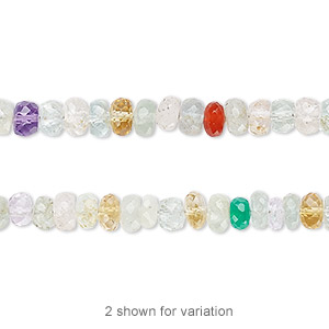 bead, multi-gemstone (natural / heated / irradiated), 5x2mm-6x4mm hand-cut faceted rondelle, b grade, mohs hardness 3 to 7. sold per 7-inch strand.