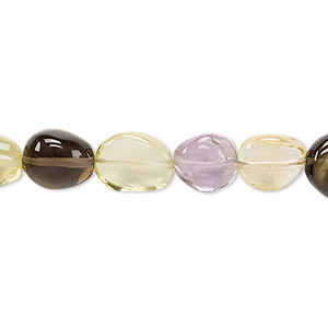 bead, multi-gemstone (natural / heated / irradiated), mini to small hand-cut flat nugget, mohs hardness 3 to 7. sold per 7-inch strand.
