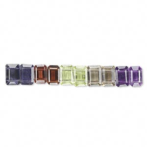bead, multi-gemstone (natural / heated / irradiated), multicolored, 6x4mm hand-cut faceted emerald-cut with 2 holes, b grade, mohs hardness 3 to 7. sold per pkg of 10.