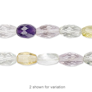 bead, multi-gemstone (natural / heated), 9x6mm-13x7mm hand-cut faceted puffed oval and faceted oval, b+ grade, mohs hardness 3 to 7. sold per 7-inch strand.