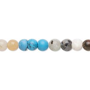 bead, multi-gemstone (natural / imitation), 5-7mm round, c- grade, mohs hardness 3 to 7. sold per 15-inch strand.