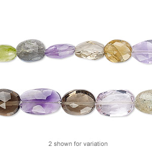 bead, multi-gemstone (natural / irradiated), 8x6mm-12x8mm hand-cut faceted puffed oval, b- grade, mohs hardness 3 to 7. sold per 7-inch strand.