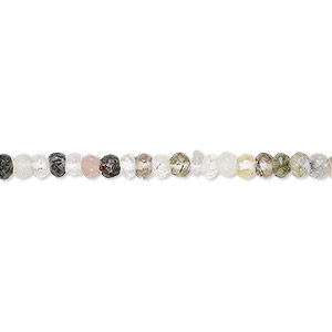 bead, multi-gemstone (natural), 2x2mm-3x2mm hand-cut faceted rondelle, c grade, mohs hardness 3 to 7. sold per 13-inch strand.