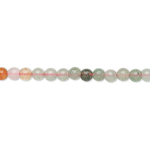 bead, multi-gemstone (natural), 3-4mm round, c grade, mohs hardness 3 to 7. sold per 15-inch strand.