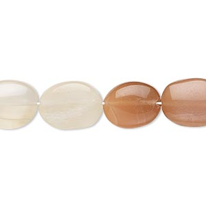 bead, multi-moonstone (natural), 12x9mm-15x10mm hand-cut puffed oval, b- grade, mohs hardness 6 to 6-1/2. sold per 14-inch strand.