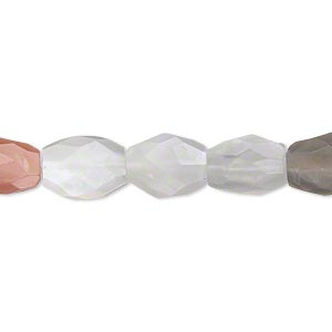 bead, multi-moonstone (natural), 8x7mm-13x9mm hand-cut faceted puffed oval, b- grade, mohs hardness 6 to 6-1/2. sold per 16-inch strand.
