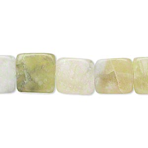 bead, multi-new jade (natural), 11x11mm-12x12mm flat square, d grade, mohs hardness 2-1/2 to 6. sold per 15-inch strand.