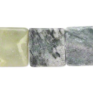 bead, multi-new jade (natural), 17x17mm-20x20mm flat square, d- grade, mohs hardness 2-1/2 to 6. sold per 15-inch strand.