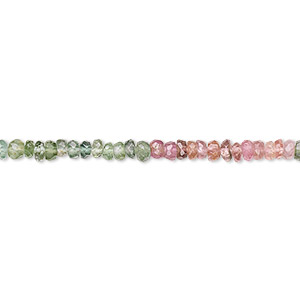 bead, multi-tourmaline (natural), 2.5x2mm hand-cut faceted rondelle, b grade, mohs hardness 7 to 7-1/2. sold per 16-inch strand.