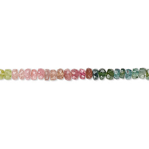 bead, multi-tourmaline (natural), 3x1mm-4x3mm hand-cut faceted rondelle, b- grade, mohs hardness 7 to 7-1/2. sold per 14-inch strand.