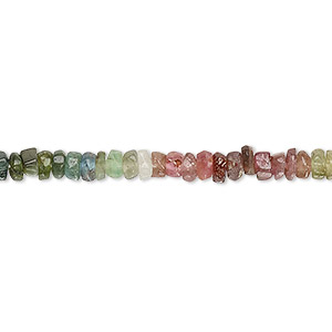 bead, multi-tourmaline (natural), 4x2mm-5x4mm hand-cut tumbled faceted heishi, c+ grade, mohs hardness 7 to 7-1/2. sold per 12-inch strand.