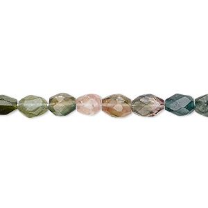 bead, multi-tourmaline (natural), 5x4mm-10x6mm hand-cut faceted puffed oval, b- grade, mohs hardness 7 to 7-1/2. sold per 12-inch strand.