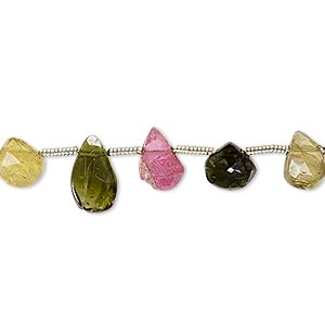 bead, multi-tourmaline (natural), 6x6mm-11x7mm hand-cut top-drilled faceted puffed teardrop, c- grade, mohs hardness 7 to 7-1/2. sold per pkg of 5 beads.