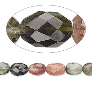 bead, multi-tourmaline (natural), 7x5mm hand-cut faceted oval, c grade, mohs hardness 7 to 7-1/2 . sold per 16-inch strand.