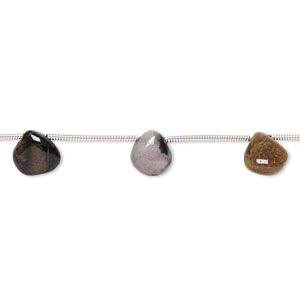bead, multi-tourmaline (natural), 7x6mm-10x10mm hand-cut top-drilled puffed teardrop, d grade, mohs hardness 7 to 7-1/2. sold per pkg of 9.