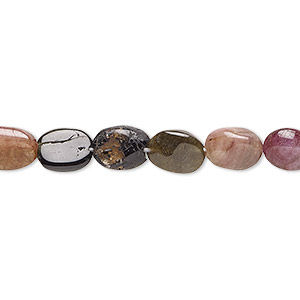 bead, multi-tourmaline (natural), 7x6mm-9x7mm hand-cut puffed oval, c grade, mohs hardness 7 to 7-1/2. sold per 13-inch strand.