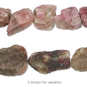 bead, multi-tourmaline (natural), medium rough nugget, mohs hardness 7 to 7-1/2. sold per 8-inch strand.